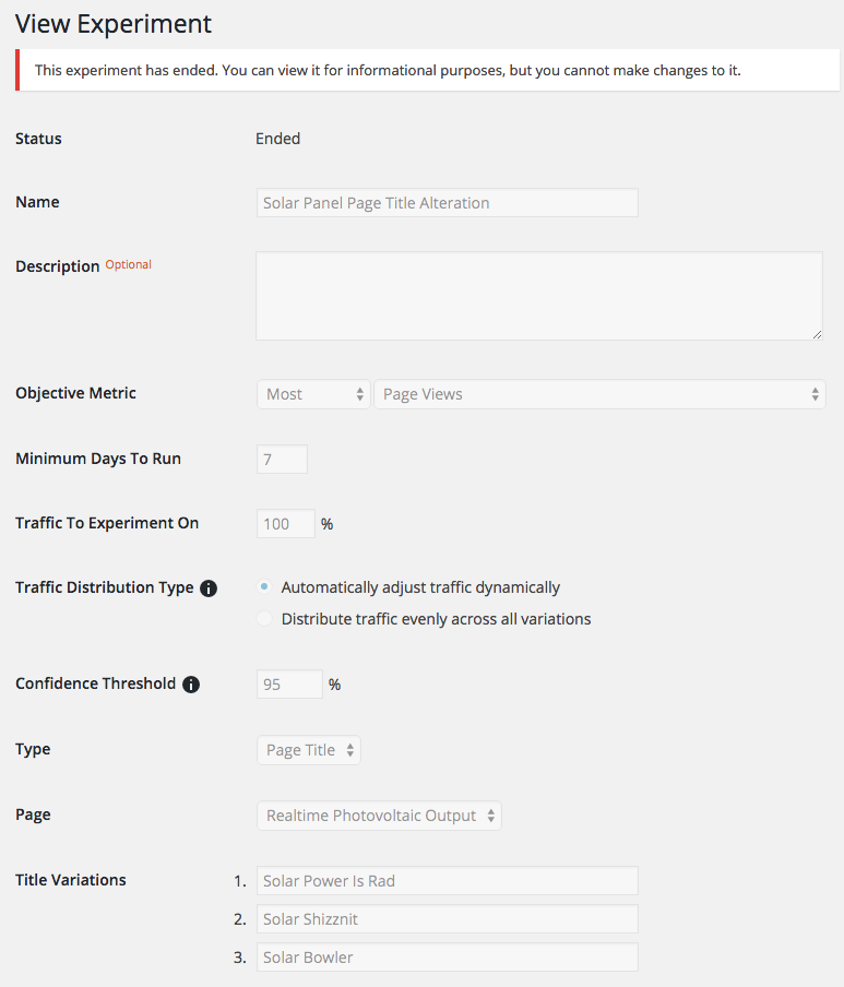 Google Analytics Content Experiments can be used to run variations of the title of any individual post/page.