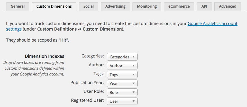 Google Google Analytics custom dimension tracking allows you to track categories, authors, tags, publication year, user roles and registered users.