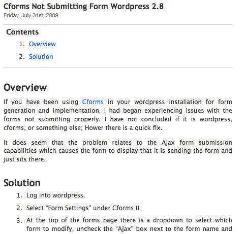 Display in default wordpress template