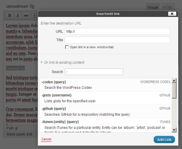 Search modifiers help list.