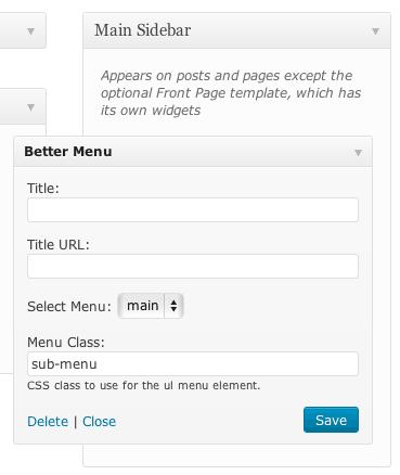 Default widget settings