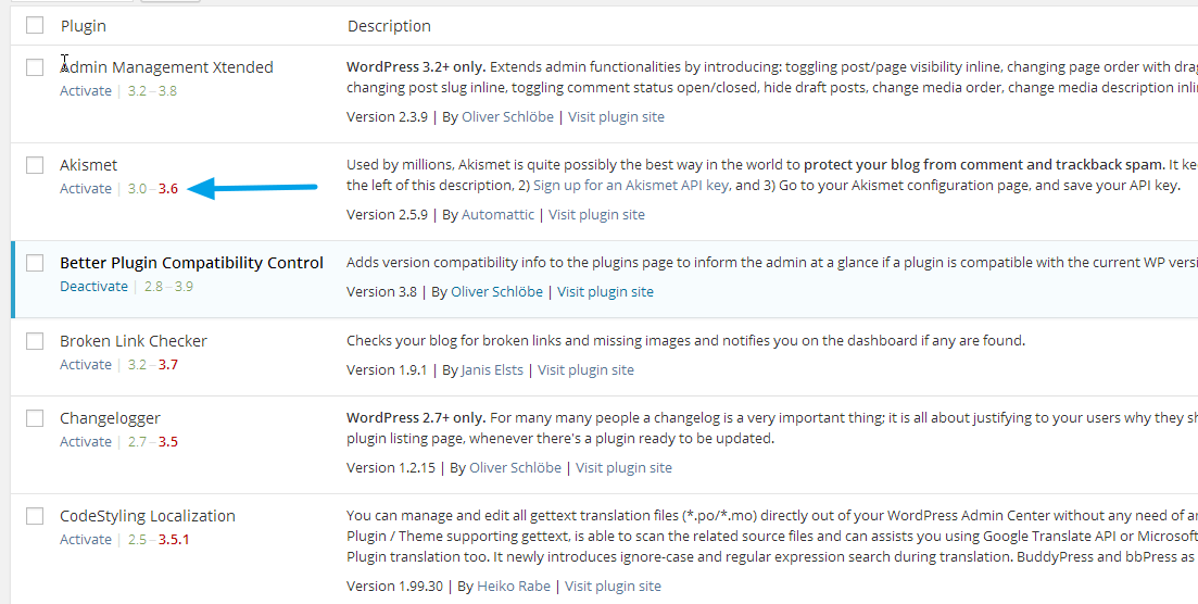The added compatibility version information below plugin titles.