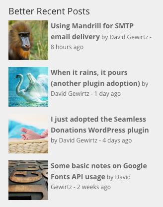 Better Recent Posts Widget example.