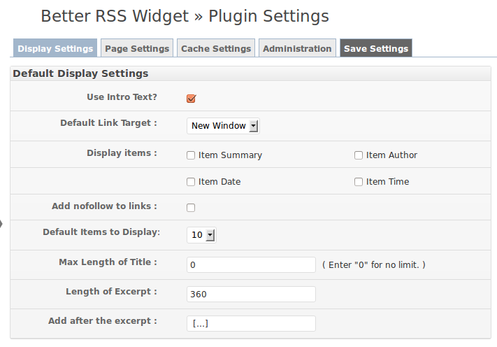Plugin settings page.