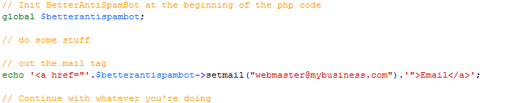 Usage in PHP code