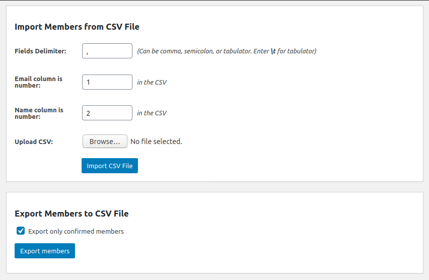 Import and export contacts to/from CSV file