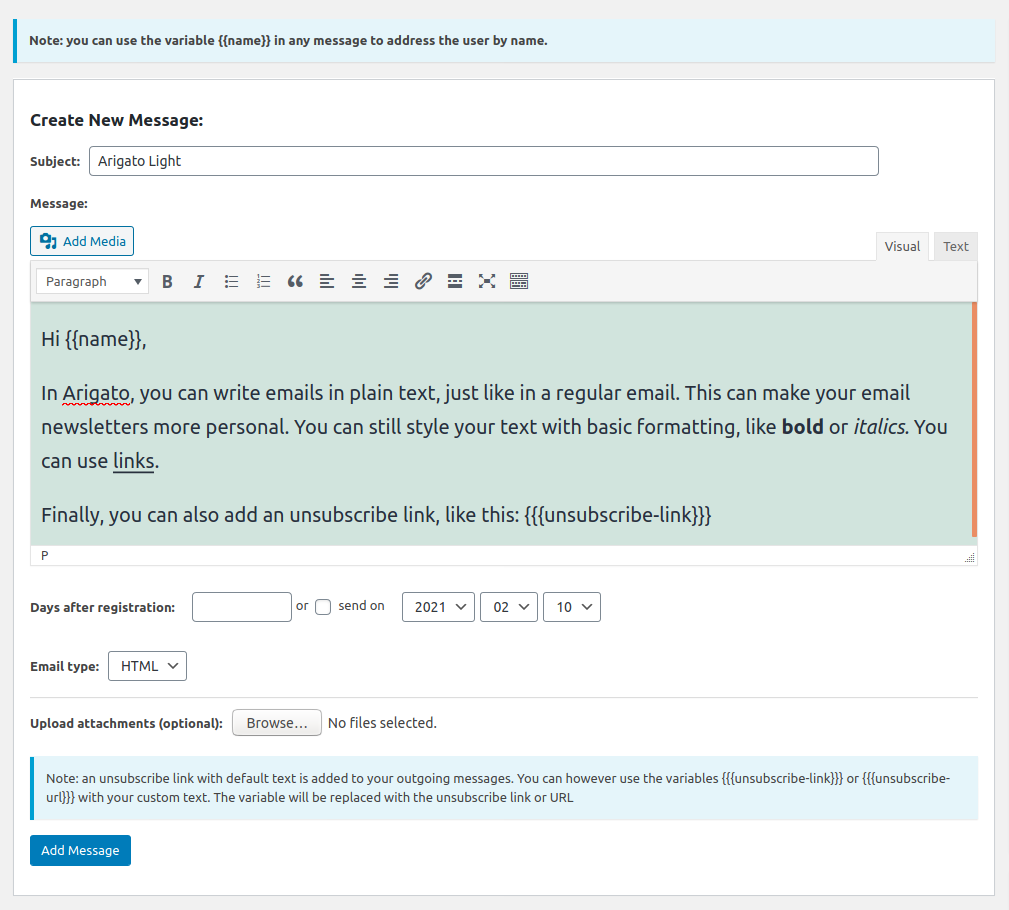 Create a new autoresponder message