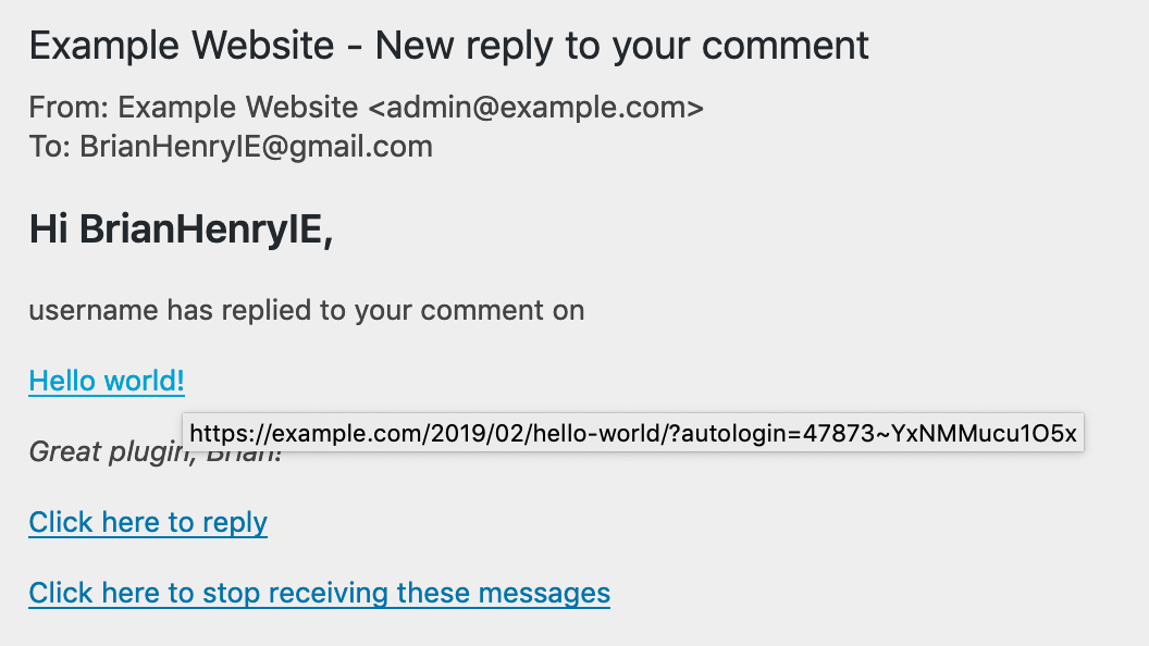 Example email sent via Comment Reply Email Notification plugin.