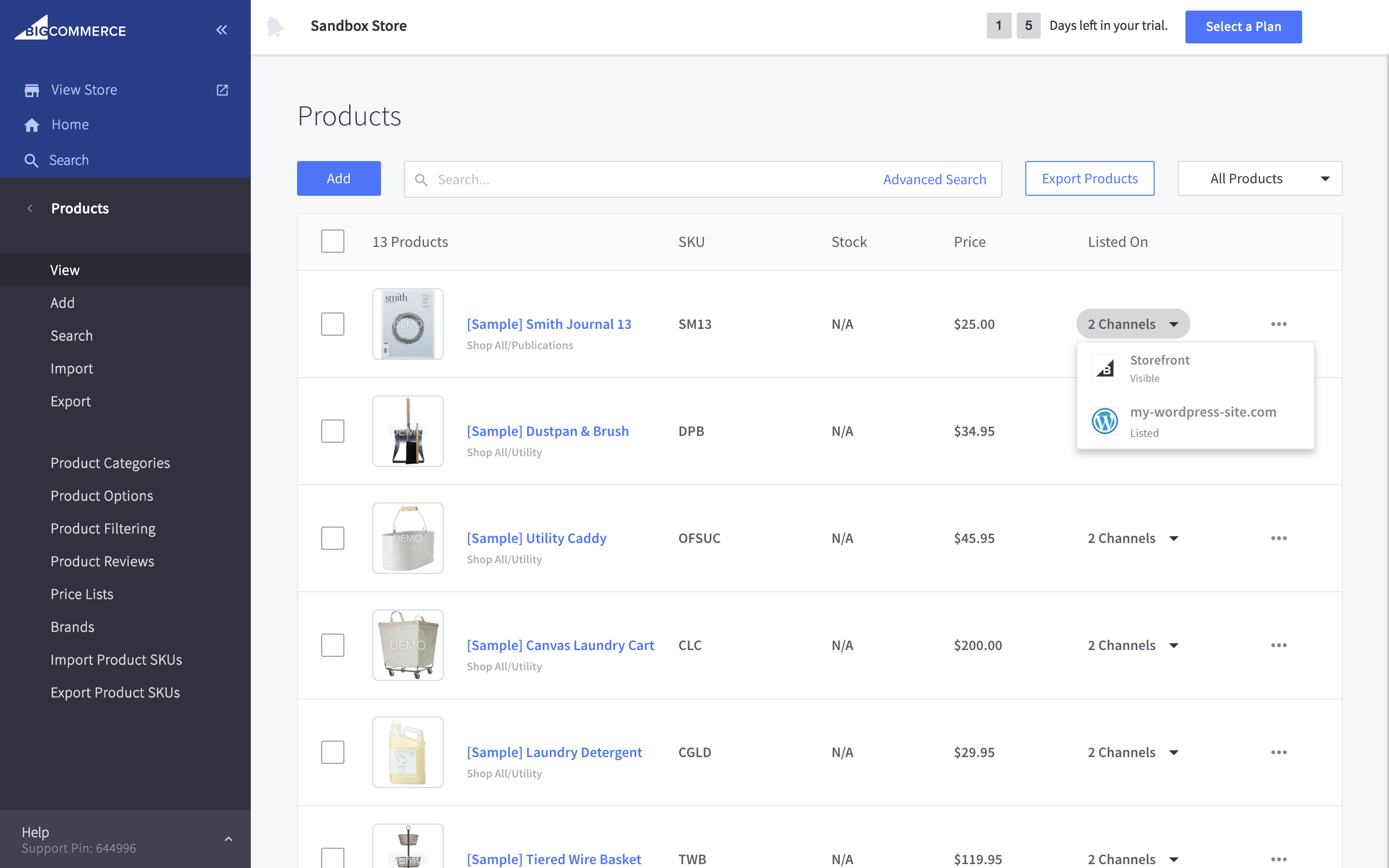 Each product created in BigCommerce get imported into WordPress