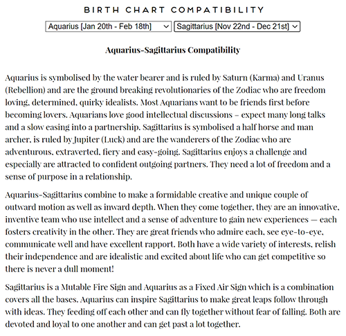 Birth Chart Compatibility WordPress Plugin