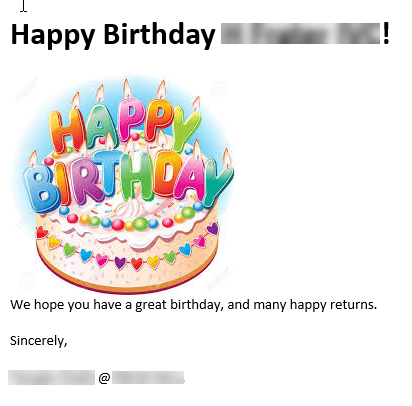 An example of a birthday email sent.
