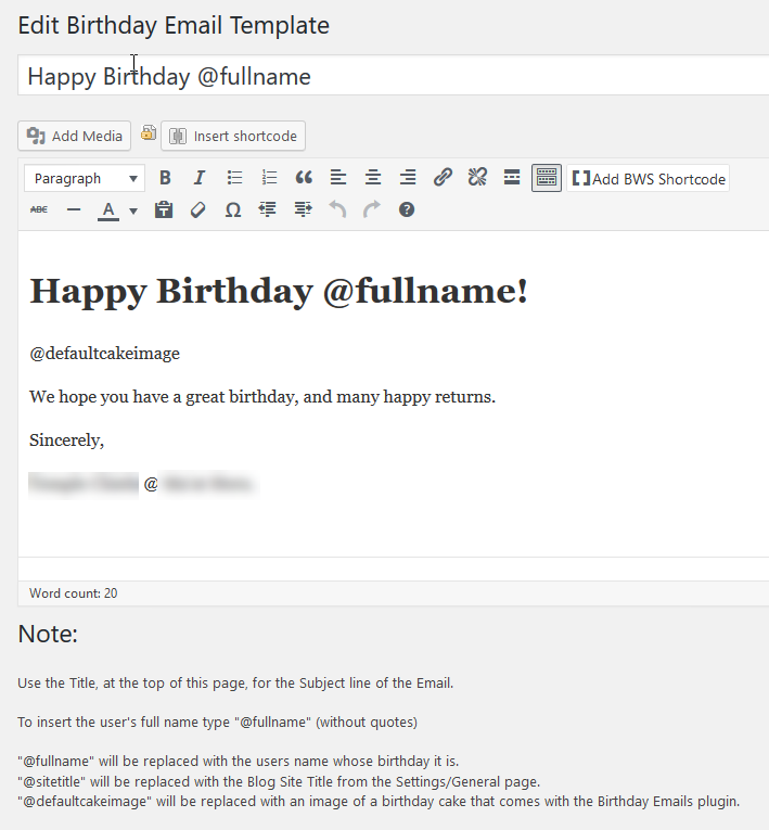 The panel for customizing the email sent on each User's birthday.