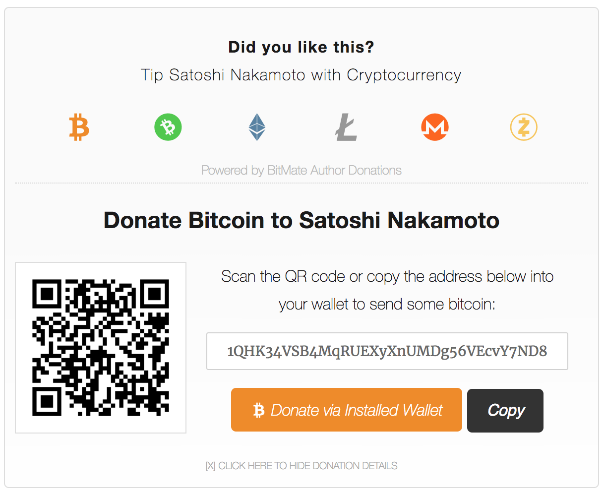 Expanded Multi-Cryptocurrency BitMate Donation Box
