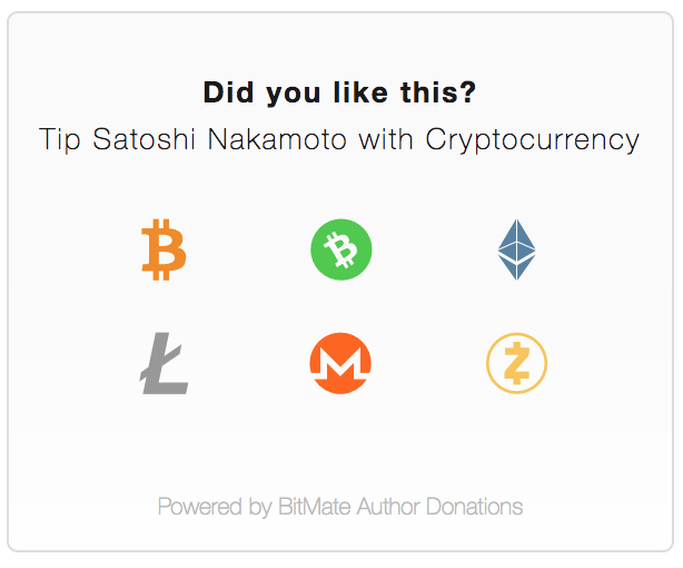 Multi-Cryptocurrency BitMate Donation Box Widget
