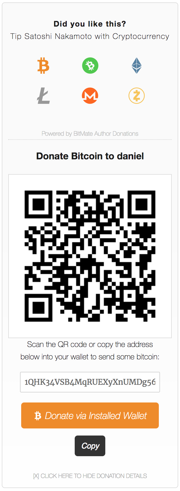 Expanded Multi-Cryptocurrency BitMate Donation Box Widget