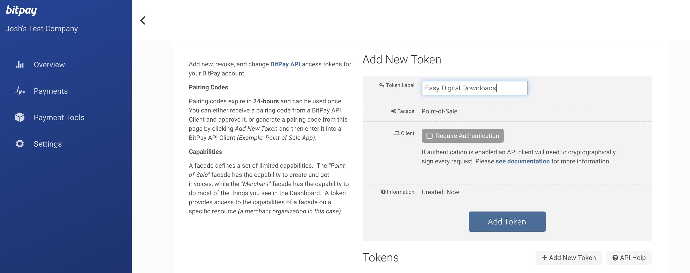 BitPay merchant dashboard - create a new POS token