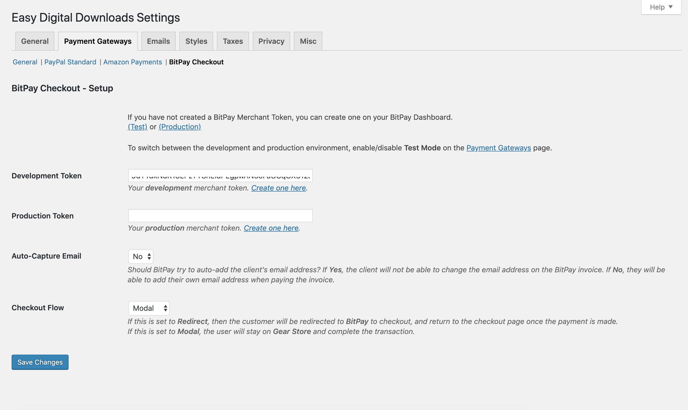 Wordpress Easy Digital Downloads - BitPay plugin settings (2)