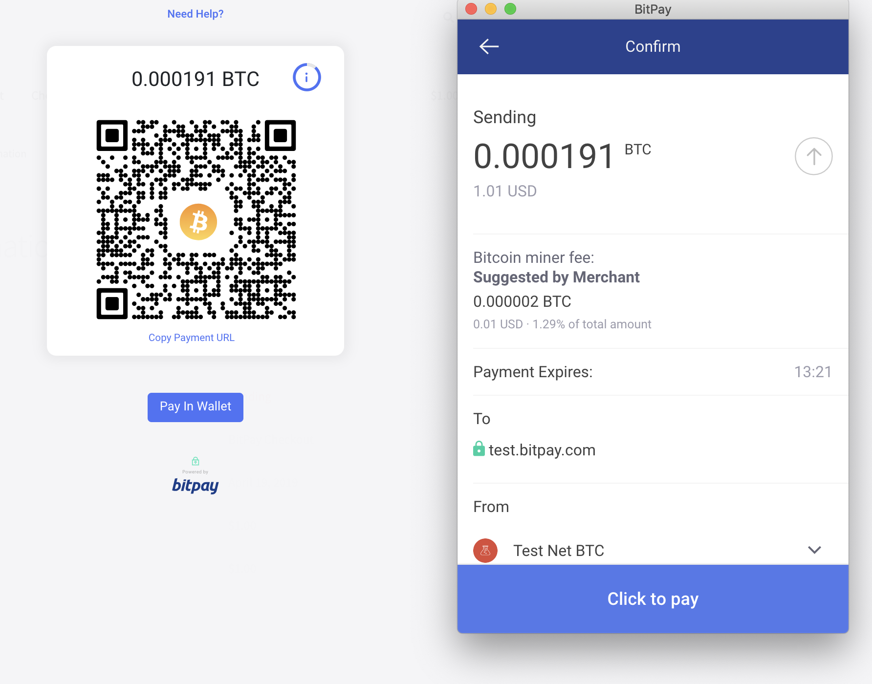 "BitPay hosted invoice - Customer clicked on the ""open in wallet"", this opens the compatible wallet installed on the device which automatically retrieves the payment information."