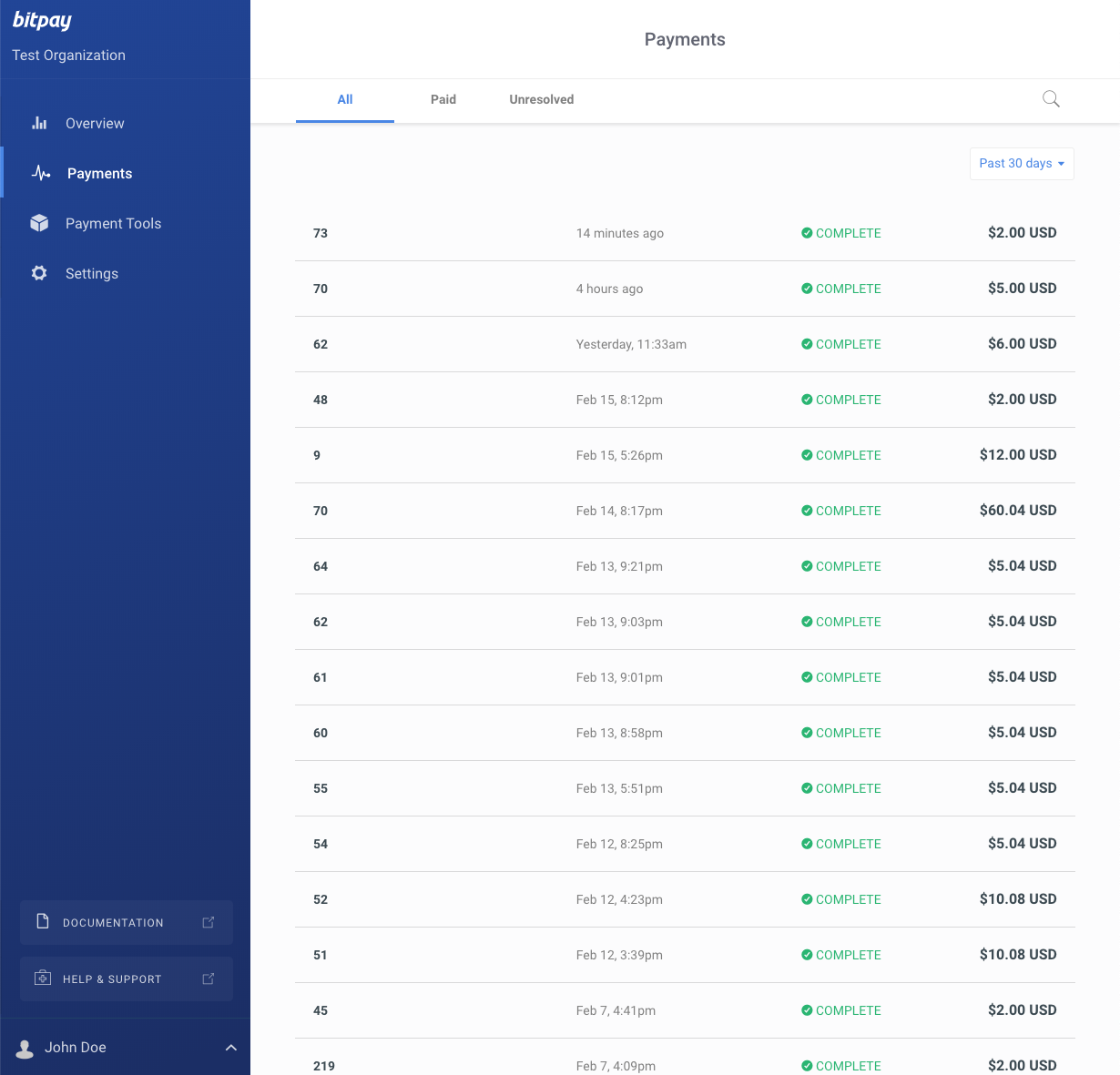 """BitPay merchant dashboard - the invoice previously paid is recorded unde the """"Payments"""" section."""