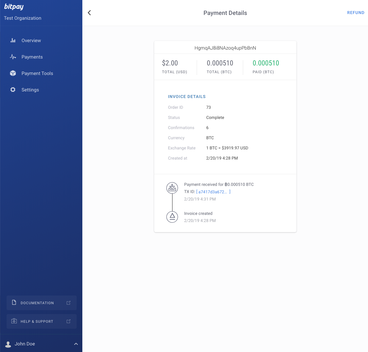 BitPay merchant dashboard - detailed invoice view