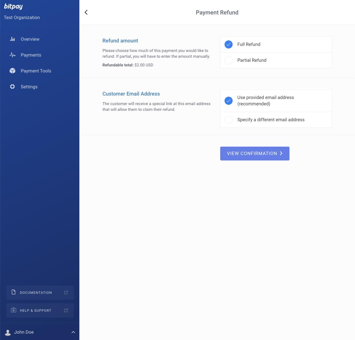 BitPay merchant dashboard - refund option