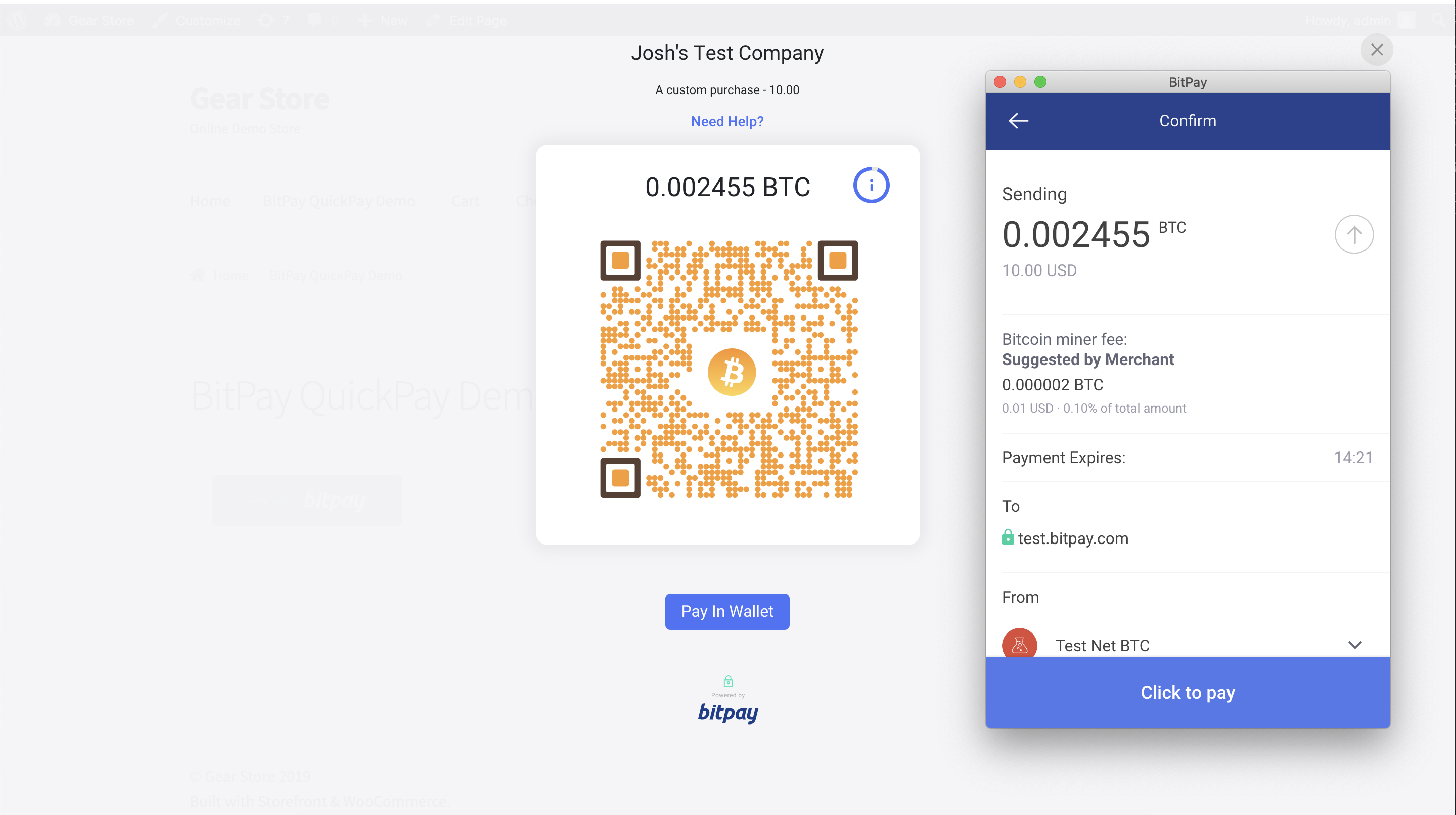 """BitPay hosted invoice - Customer clicked on the """"open in wallet"""", this opens the compatible wallet installed on the device which automatically retrieves the payment information."""