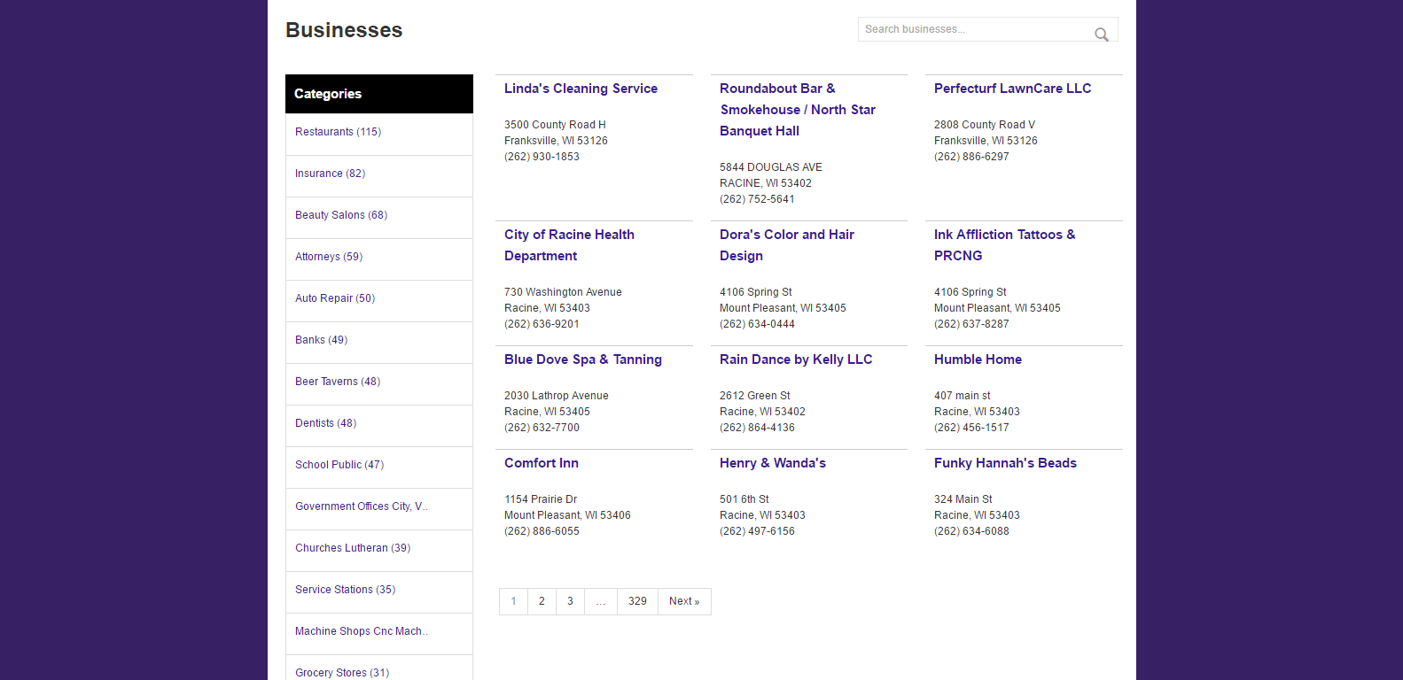 A sample business directory listing page