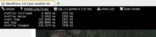 Profiler tab. Displays checkpoint name, time passed since profiler start and current memory usage (75% zoom)