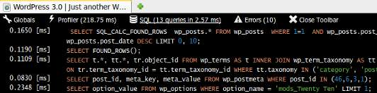 SQL tab. Displays each query execution time and the executed queries. Syntax highlighting using highlight.js library (75% zoom)