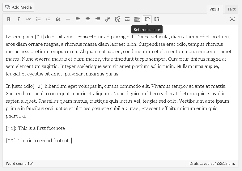 Visual Editor TinyMCE with plugin actived