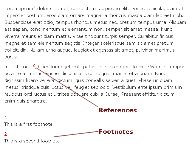 Example with the footnotes display