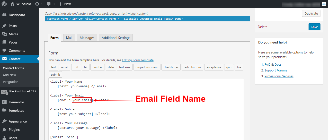 Email Field Name