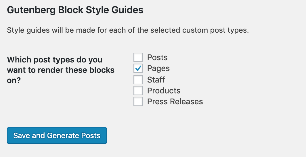 The main screen for Gutenberg Block Style Guides.