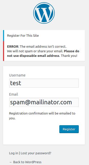 block temporary email wordpress org