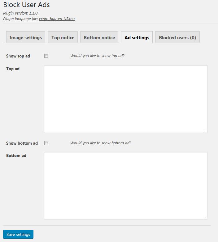 Ad settings
