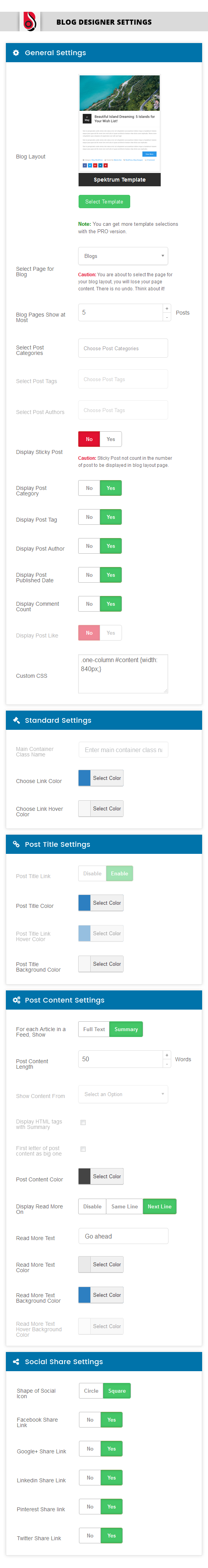 Blog Designer Panel - Admin Interface