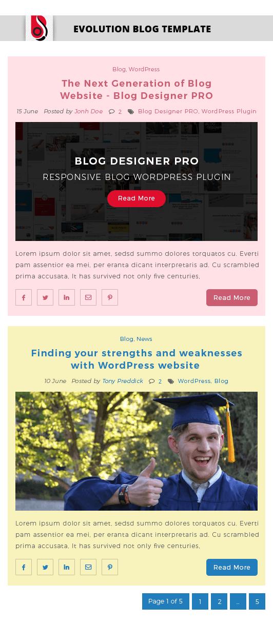 Blog Designer with 'Spektrum' Blog Template Layout