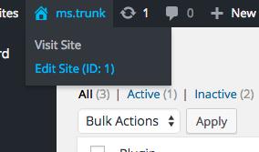 ID added to Edit Site menu item
