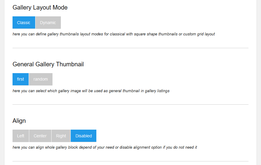 Layout settings of the gallery. Thumbnails. Align. Screenshot 5