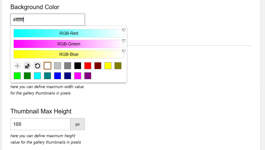 Background color selector of the gallery. Thumbnails height. Screenshot 6