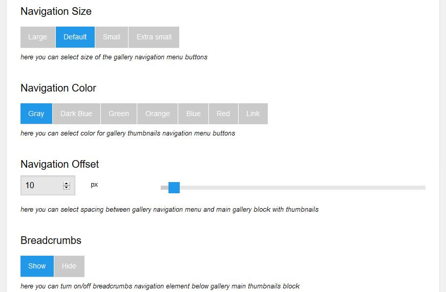 Screenshot 9. Navigation size. Navigation color. Navigation offset. Breadcrumbs.