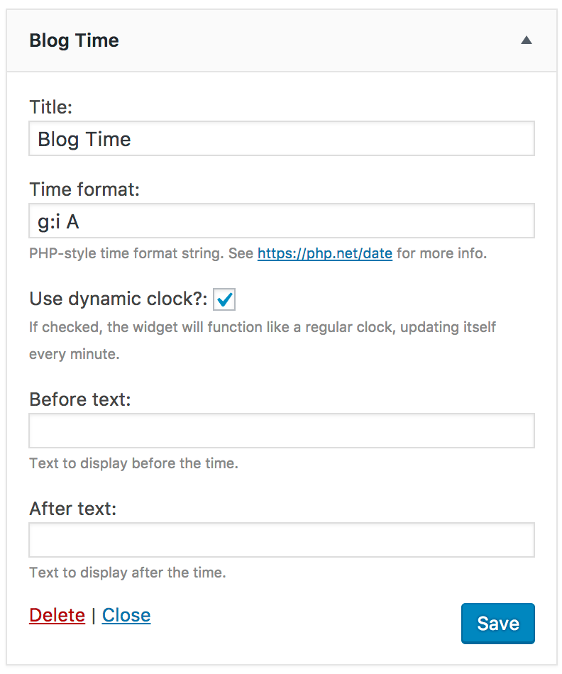 A screenshot of the 'Blog Time' widget.