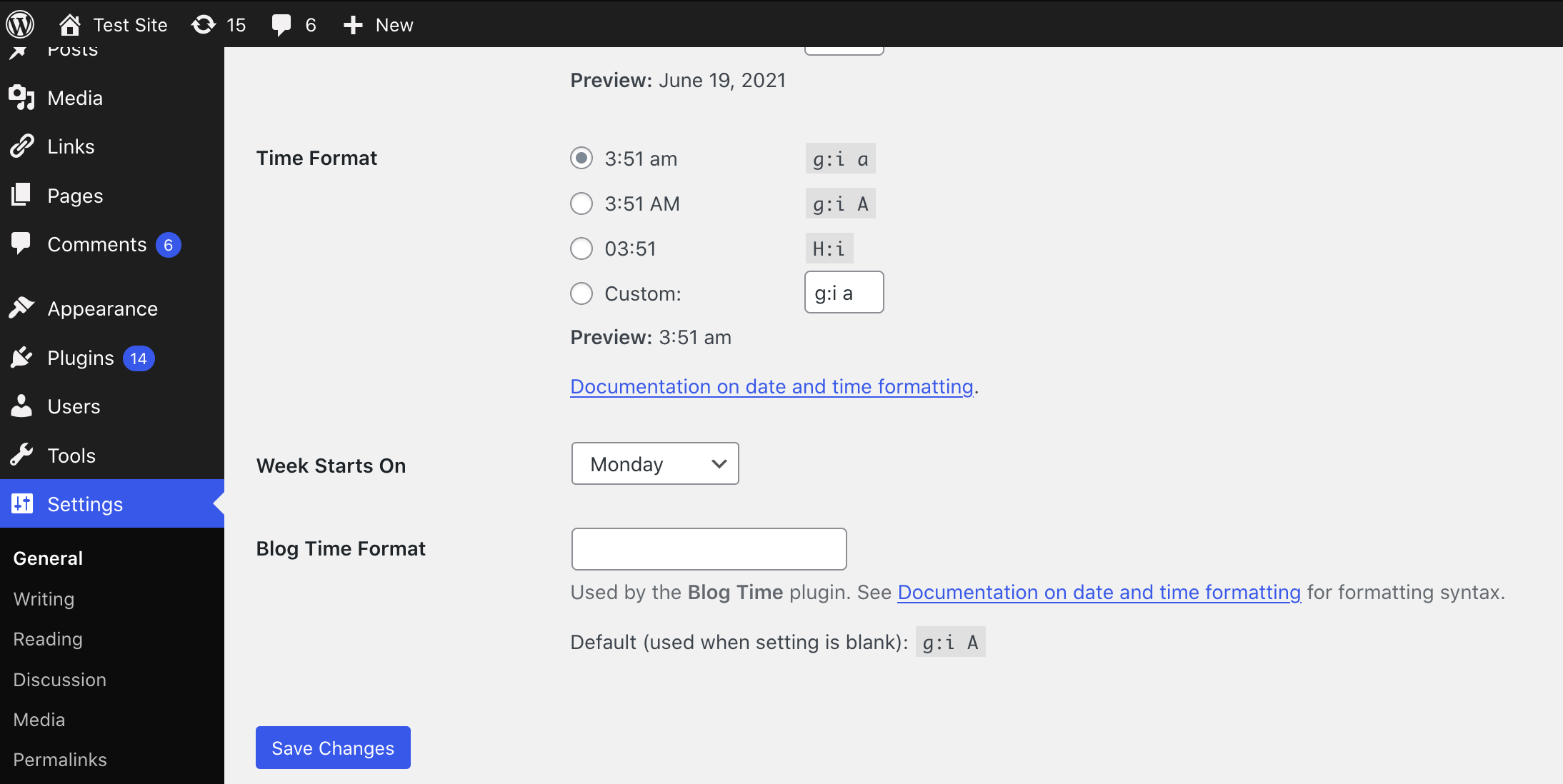 """The """"Blog Time Format"""" setting found on Settings -> General."""