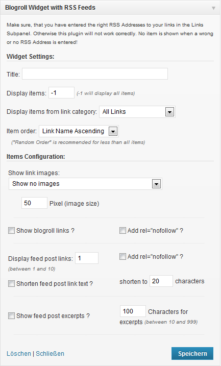 Blogroll Widget with RSS Feeds in the WordPress Appearance Widgets SubPanel