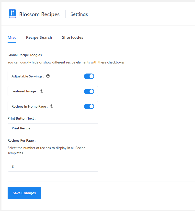 Plugin Settings Page