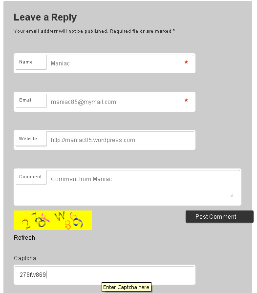 Blue Captcha On Commentary Form #2