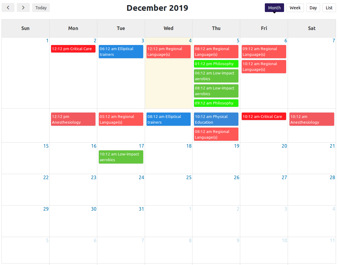 Calendar Section.