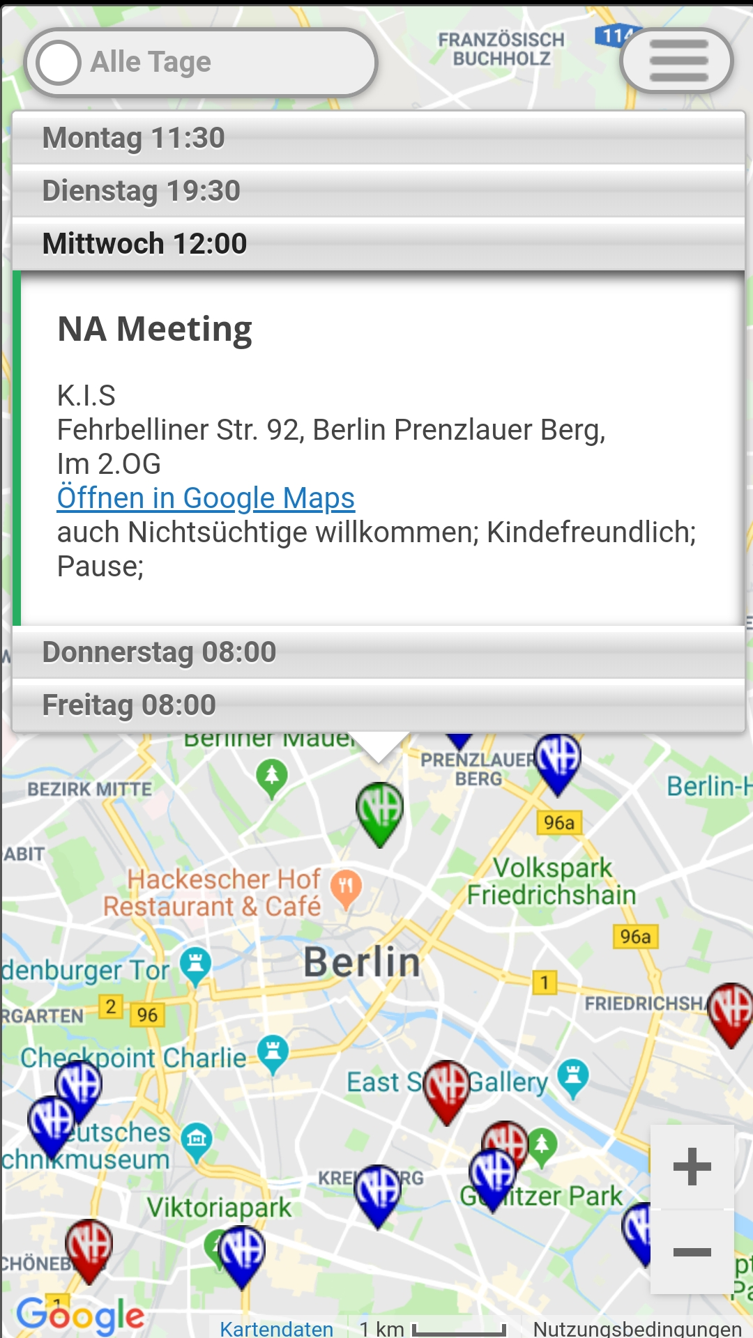 Click on a marker to bring up details of all meetings at that location