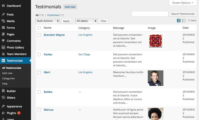 Testimonial Post List Admin Screen