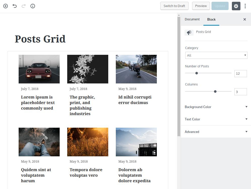 Posts Grid Editor